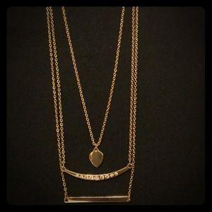 Jewelry - NWOT ~ 3-Tiered Gold & Swarovski Necklace